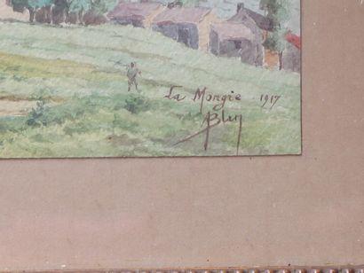 Aimé BLIN (1872-1944).  La Mongie, 1917.  Aquarelle, signée en bas à droite.  H_8,6...