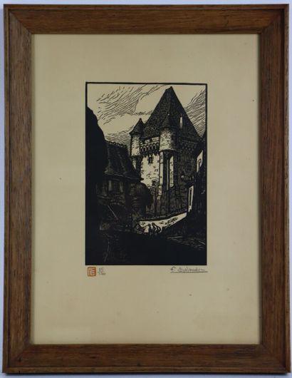 Fernand CHALANDRE (1879-1924).  Nevers, la Porte du Croux, 1923.  Bois gravé.  Signée...