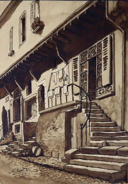 Georges TARDY (1885-1980).  Vieille maison...