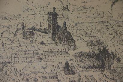 Nevers en 1850 et Nevers en 1566.  Paire de retirages, d'après les collections des...