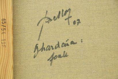 Pierre BELLON (1930-2009).  Ghardaïa, foule.  Huile sur toile.  Signée en bas à...