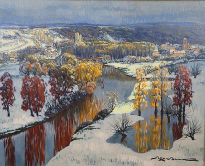 REX BARRAT (1914-1974).  Paysage de neige...