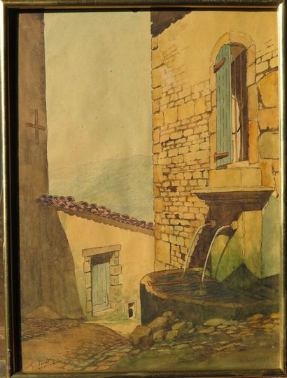 Georges TARDY (1885-1980).  La vieille fontaine....