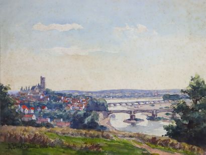 Auguste BERTHAULT (1862-1942).  Vue de Nevers...