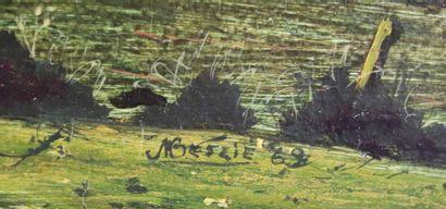 Michel BESZIE (né en 1940).  La ferme.  Huile sur panneau, signée en bas à droite...
