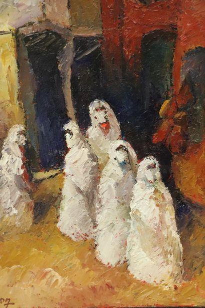 Pierre BELLON (1930-2009).  Femmes aux portes de la ville.  Huile sur toile.  Signée...