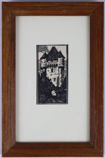 Fernand CHALANDRE (1879-1924).  Nevers, la Porte du Croux.  Gravure sur bois.  H_14.5...