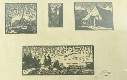 Georges TARDY (1885-1980). Vues de village,...