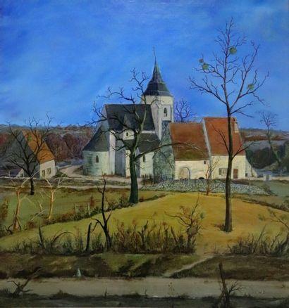 Pierre DANCETTE (1928-2010).  Eglise en nivernais....