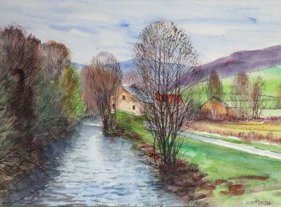 Antoine PANEDA (1929).  L'Yonne à Corancy....