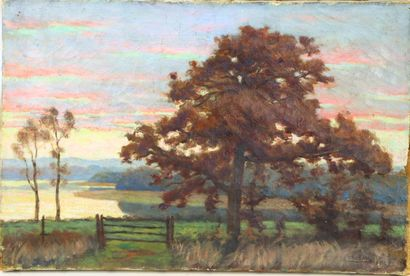 Henri DIF (1864-1929).  Etang de Torcy.  Huile...
