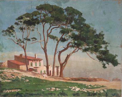 Henri DIF (1864-1929).  Villa en bord de...