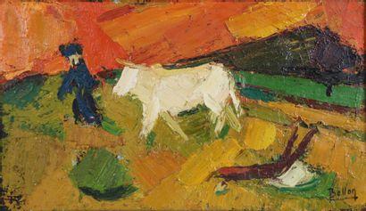 Pierre BELLON (1930-2009).  Vache et charrue....