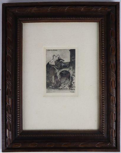 Fernand CHALANDRE (1879-1924).  Nevers, rue Saint Vincent.  Eau-forte.  Signée et...