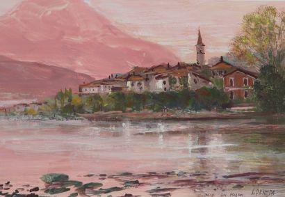 Antoine PANEDA (1929).  Italie, lac majeur....