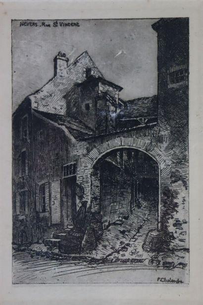 Fernand CHALANDRE (1879-1924).  Nevers, rue...
