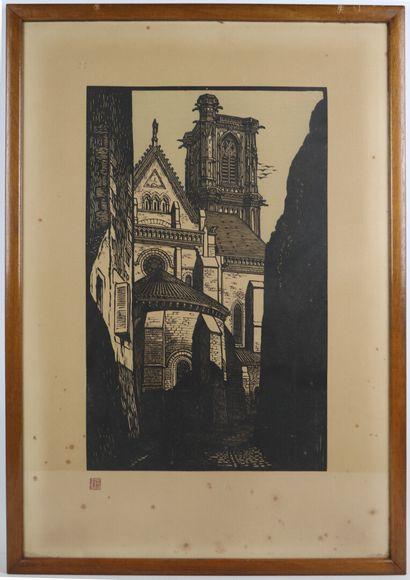 Fernand CHALANDRE (1879-1924).  Nevers, la cathédrale.  Bois gravé, signé du cachet....