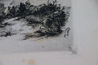 François BARILLET (1849-1911).  Vue de Nevers.  Eau-forte, monogrammée à droite....