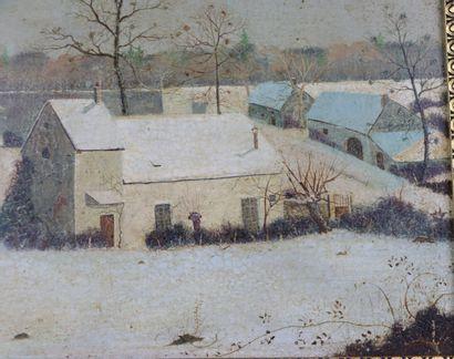 Michel BESZIE (né en 1940).  Village nivernais sous la neige.  Huile sur panneau,...