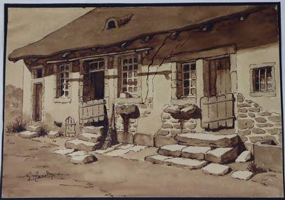 Georges TARDY (1885-1980).  Ferme à Moux...