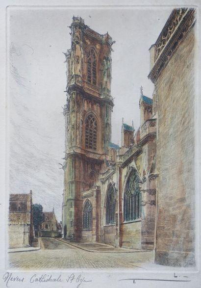 Léopold ROBIN (1877-1939).  Nevers, cathédrale...