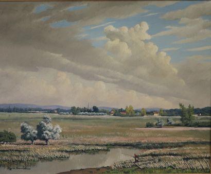 REX BARRAT (1914-1974)  Le Marais à Herry....