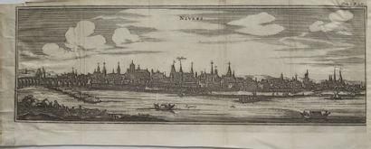 Matthaeus MERIAN (1593-1650).  Vue de Nevers....