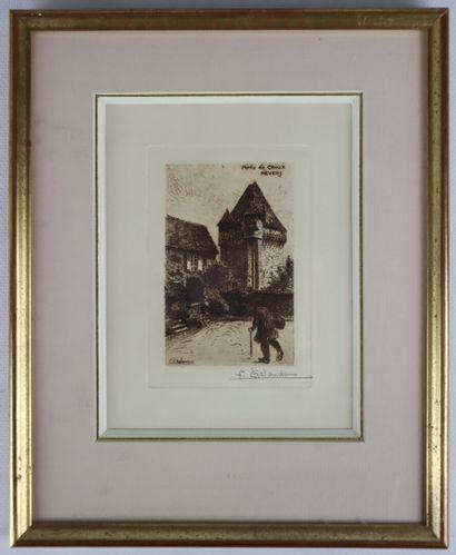 Fernand CHALANDRE (1879-1924).  Nevers, la Porte du Croux, 1907.  Eau-forte.  Signée...