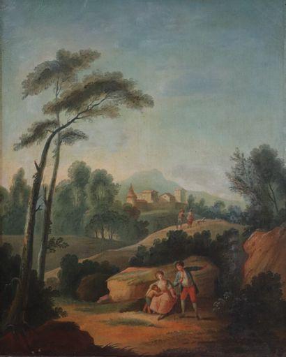 Ecole française du XVIIIème siècle.  Paysage...
