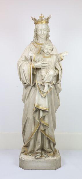 Vierge à l'enfant.  Importante statue en...