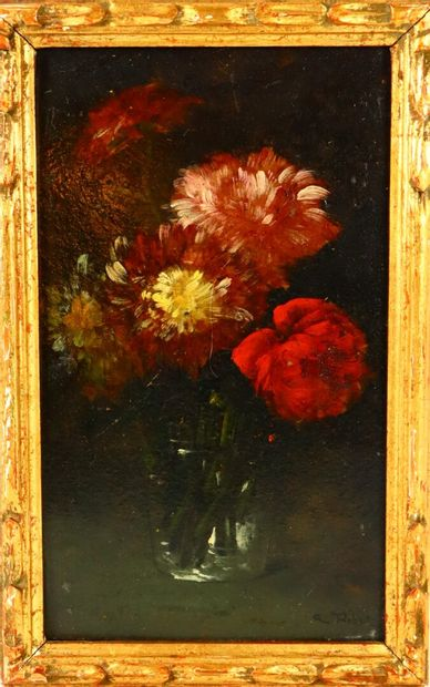 Germain RIBOT (1845-1893).  Bouquet de fleurs....