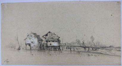 Camille FLERS (1802-1868)  Moulin et pont.  Crayon noir et aquarelle  Signé en bas...