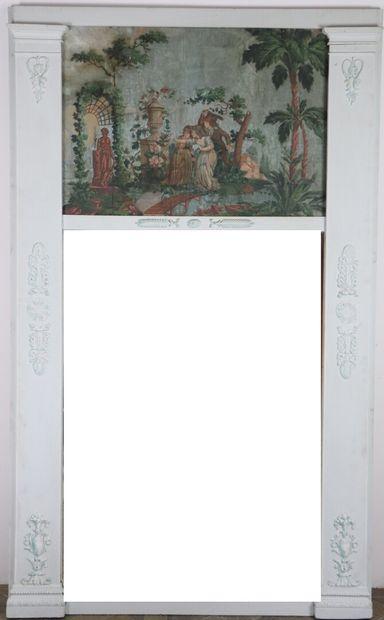 Important miroir de trumeau en bois et stuc...