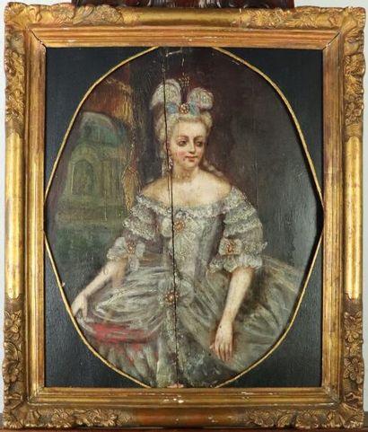 Ecole du XIXème siècle.  Portrait d'une élégante,...