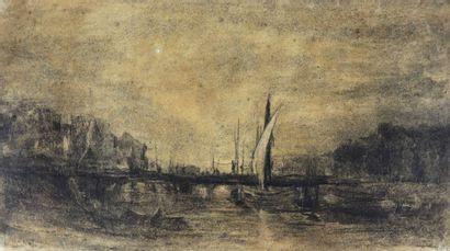 Camille FLERS (1802-1868)  Vue d'un port....