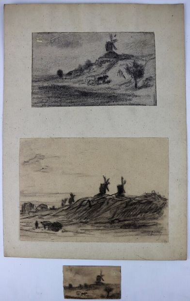 Charles Emile JACQUE (1813-1894).  Ensemble de trois dessins figurant une charette...