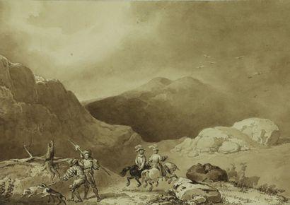 Ecole romantique vers 1830.  Cavaliers dans...