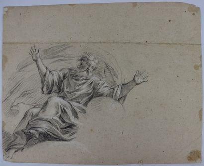 Ecole française vers 1700  Recto : scène avec un roi  Verso : Dieu le père  Pierre...