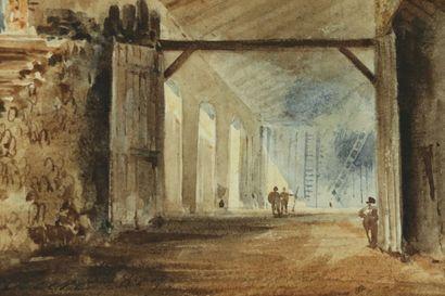 Eugène CICERI (1813-1890)  L'intérieur animé d'un bâtiment.  Aquarelle sur papier,...