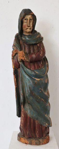 Statue bois sculpté polychrome représentant...