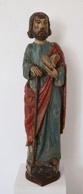Grande statue en bois polychrome figurant...