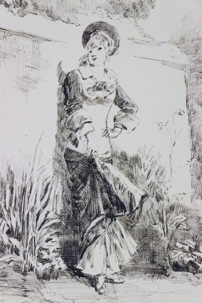 Henry SOMM (1844-1907).  Elégante au jardin.  Encre sur papier.  Signée en bas à...