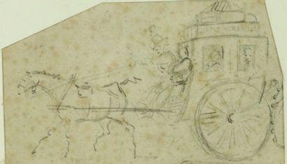 Horace VERNET (1789-1863), attribué à.  La diligence et la chaise de poste.  Réunion...