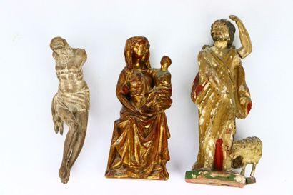 Réunion de trois statues religieuses comprenant...