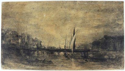 Camille FLERS (1802-1868)  Vue d'un port.  Crayon noir et rehauts de craie blanche....