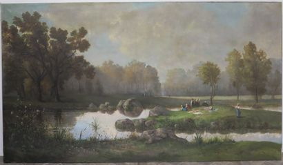 Ecole française du XIXème siècle.  Les lavandières....