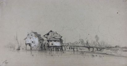 Camille FLERS (1802-1868)  Moulin et pont....