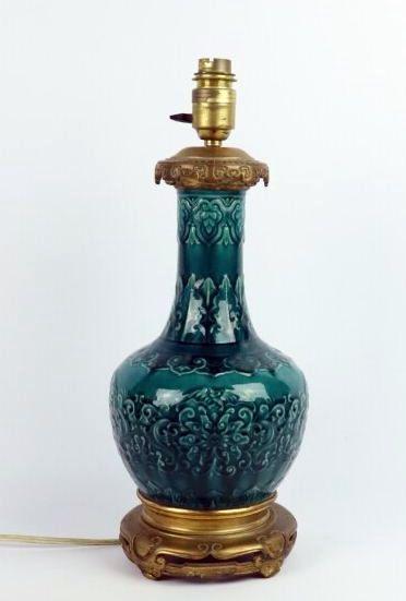Théodore DECK, dans le goût de.  Vase bouteille...