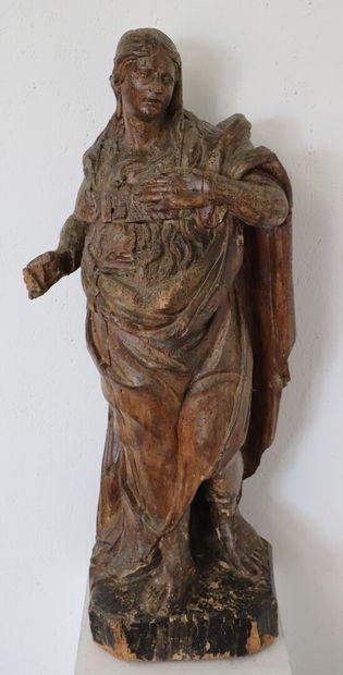 Statue en bois sculpté et mouluré représentant...