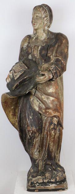Statue en bois stuqué polychrome figurant...